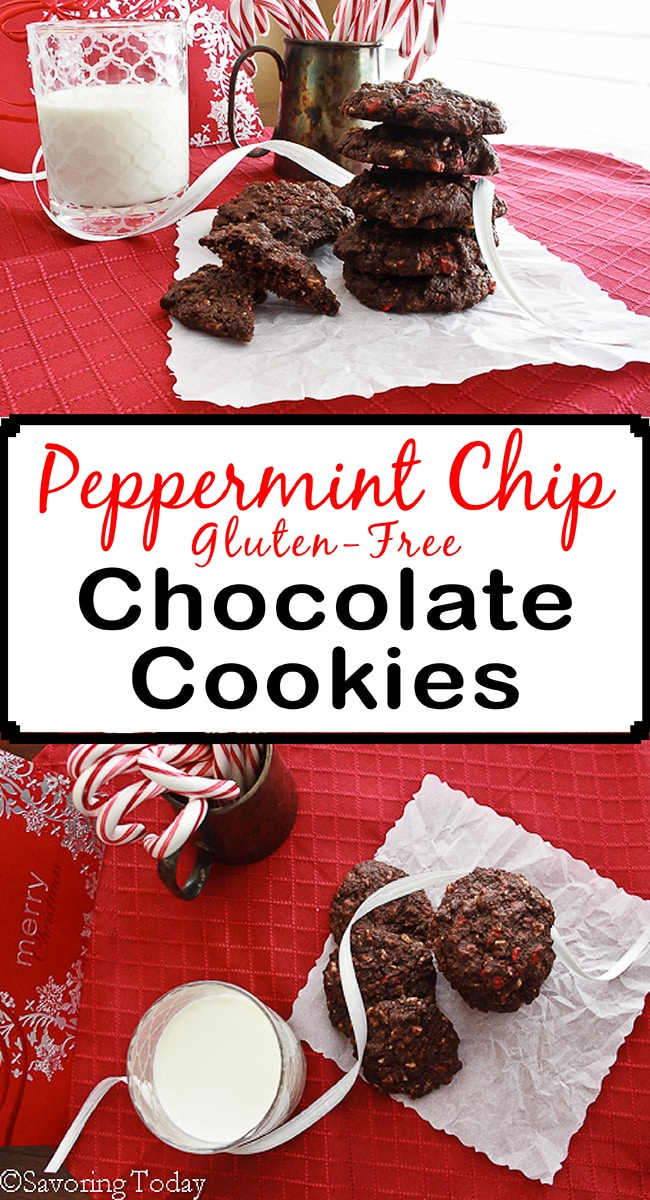 Mint chips in a soft gluten-free chocolate cookie perfect for cookies exchanges and homemade gifts at Christmas. Andes Peppermint Chips bring a distinct minty flavor to these fudgy chocolate cookies.
