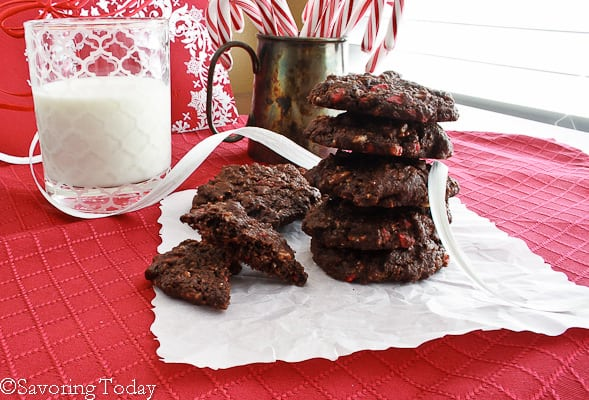 Peppermint Chip Chocolate Cookies [GF] - Stacked   Savoring Today
