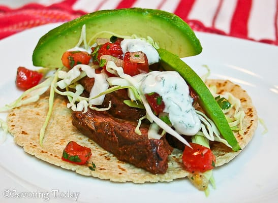 Grilled Chile-Lime Skirt Steak Tacos with fresh avocado and Pico.