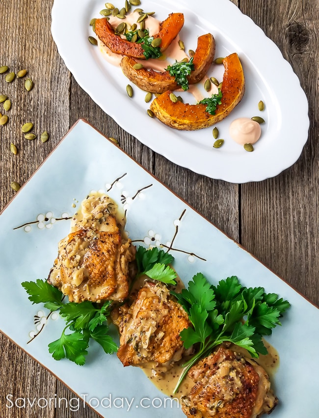 Chicken Thighs in Mustard Sauce with Roasted Butternut Squash and Gochujang Yogurt Sauce.